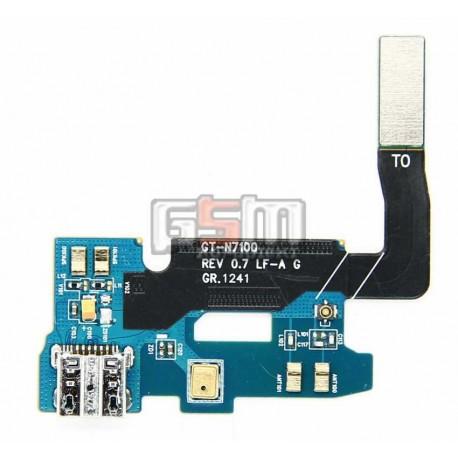 Шлейф для Samsung N7100 Note 2, коннектора зарядки, микрофона, с компонентами