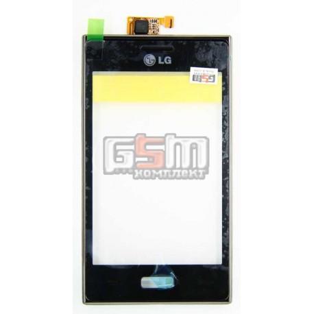Тачскрин для LG E610 Optimus L5, E612 Optimus L5, черный, с передней панелью
