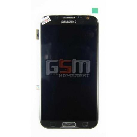 Дисплей для Samsung N7100 Note 2, серый, с сенсорным экраном (дисплейный модуль), с передней панелью