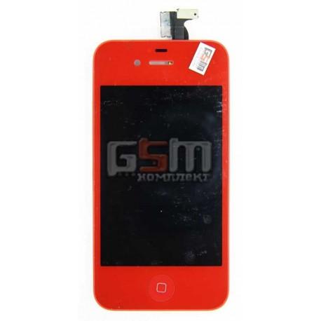 Дисплей для Apple iPhone 4S, копия, красный, с тачскрином (модуль), задняя панель, кнопка HOME, с рамкой