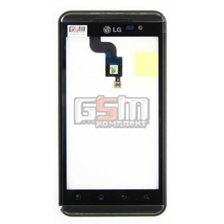 Тачскрин для LG P920 Optimus 3D, черный, с передней панелью