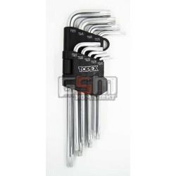 Набор ключей TORX, TS (5-граней) XB, длинные, набор 9 шт TOPEX 32D951