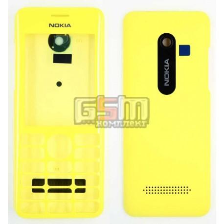 Корпус для Nokia 206 Asha, копия AAA, панели ,желтый