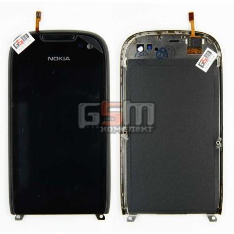 Тачскрин для Nokia 701, черный, с передней панелью