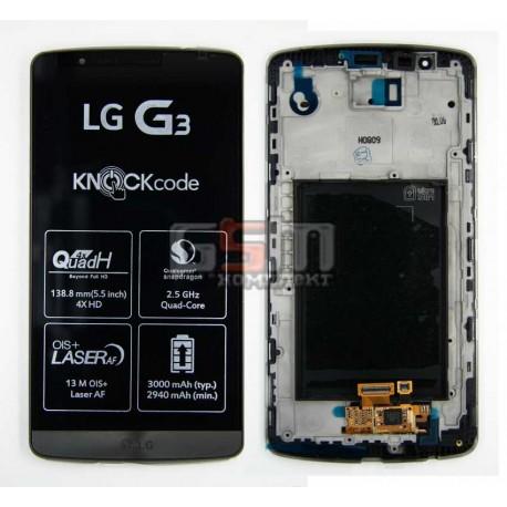 Дисплей для LG G3 D855, серый, с передней панелью, с тачскрином