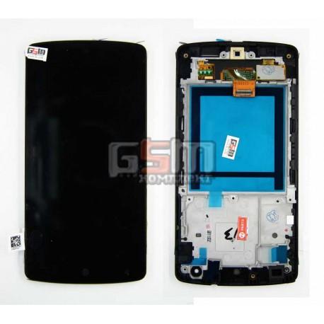 Дисплей для LG G2 D820, черный, с передней панелью, с тачскрином