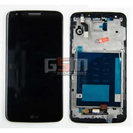 Дисплей для LG G2 D802, черный, с передней панелью, с тачскрином
