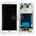 Дисплей для LG G2 D802, белый, с передней панелью, с тачскрином