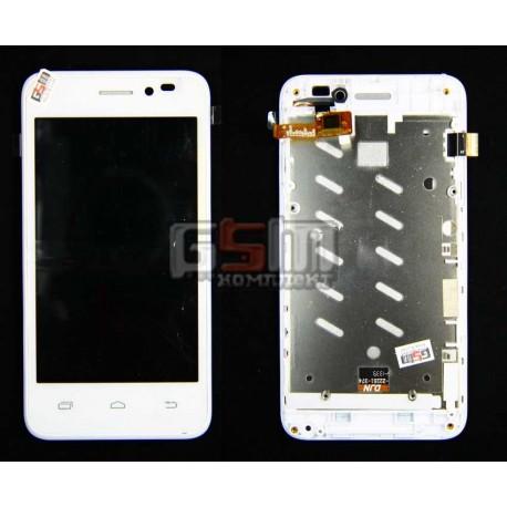 Дисплей для Prestigio MultiPhone 5400 Duo, белый, оригинал, с сенсорным экраном, с передней панелью