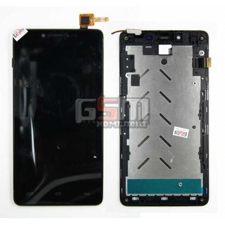 Дисплей для Prestigio MultiPhone 5500 Duo, черный, оригинал, с сенсорным экраном, с передней панелью