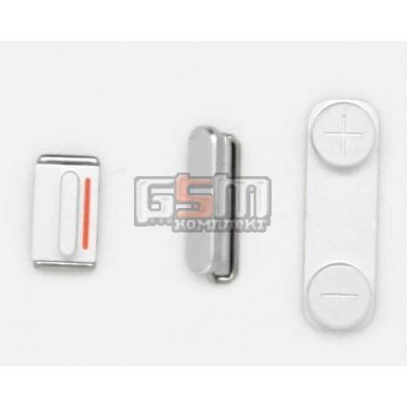Пластик боковых кнопок корпуса для Apple iPhone 5, серебристый, полный комплект