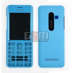 Корпус для Nokia 206 Asha, копия AAA, панели, голубой