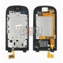 Средняя часть корпуса для Nokia 2720f, оригинал, черный, полная, верхний флип, (0254259), со шлейфом