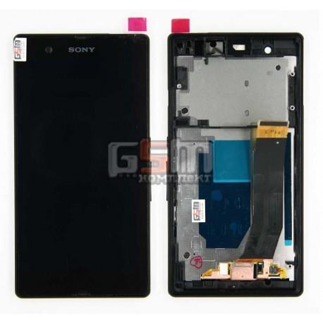 Дисплей для Sony C6603 L36i Xperia Z черный, с тачскрином и передней панелью