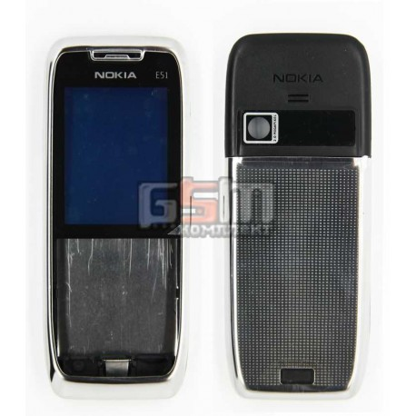 Корпус для Nokia E51, серебристый, копия ААА