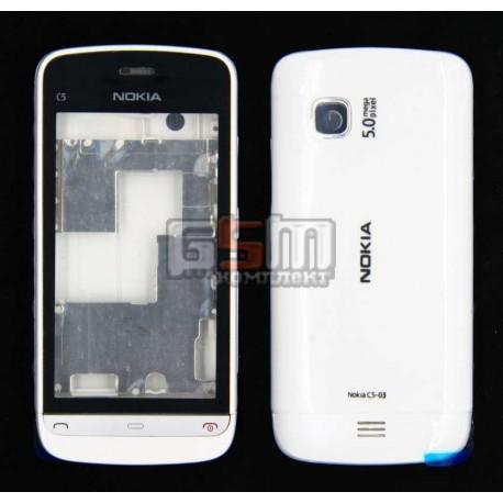 Корпус для Nokia C5-03, C5-06, белый, копия ААА