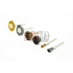Набор щеток чаша, диск, кисть сталь и латунь хвостовик 3,2мм 6шт