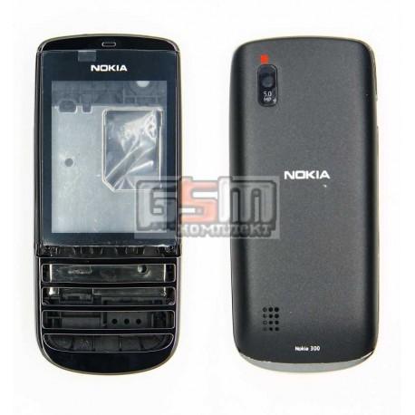 Корпус для Nokia 300 Asha, черный, high-copy