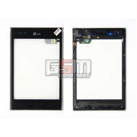 Тачскрин для LG P895 Optimus Vu, с передней панелью, черный