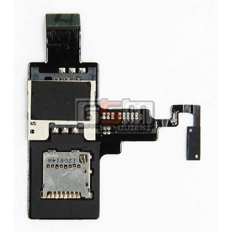 Коннектор SIM-карты для HTC T328e Desire X, коннектор карты памяти, со шлейфом, с кнопкой включения