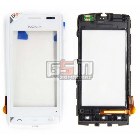 Тачскрін для Nokia 500, з передньою панеллю, білий