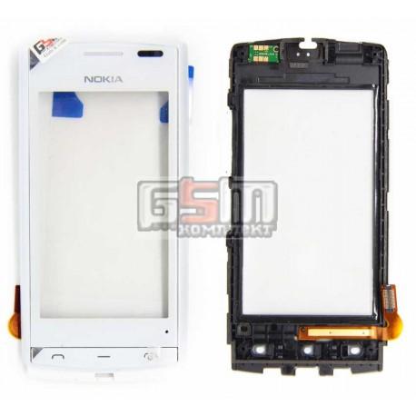 Тачскрин для Nokia 500, белый, с передней панелью
