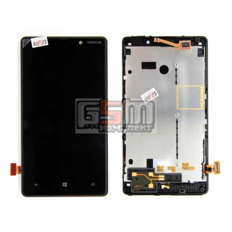 Дисплей для Nokia 820 Lumia, черный, с сенсорным экраном (дисплейный модуль)