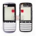 Тачскрин для Nokia 300 Asha, серебристый, с передней панелью