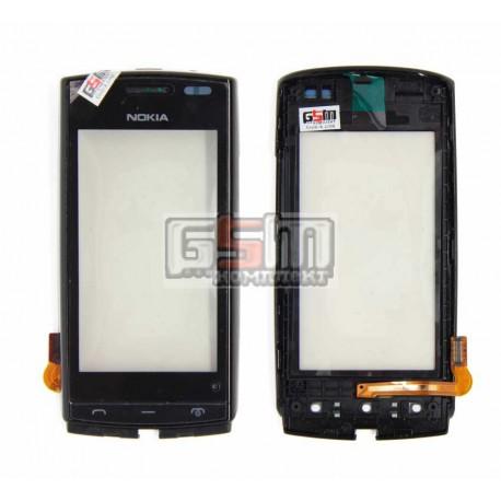 Тачскрин для Nokia 500, черный, с передней панелью