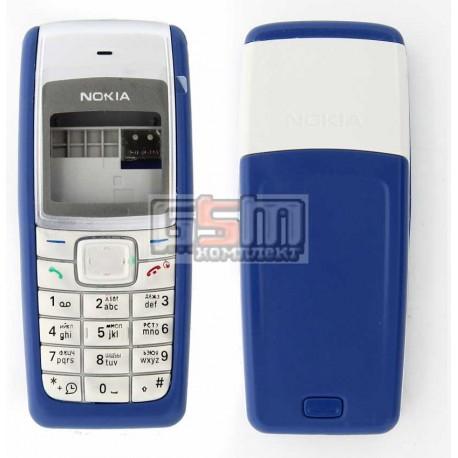 Корпус для Nokia 1110, 1110i, 1112, копия AAA, синий, с клавиатурой