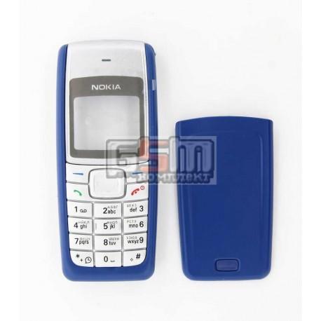 Корпус для Nokia 1110, 1110i, 1112, синий, high-copy, с клавиатурой, передняя и задняя панель