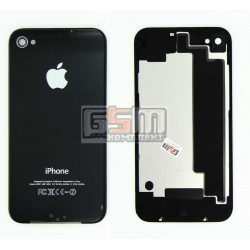 Задня панель корпусу для Apple iPhone 4S, чорна, з компонентами, high copy