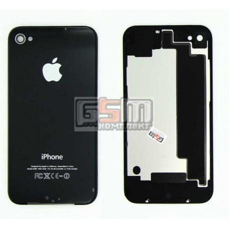 Задняя панель корпуса для Apple iPhone 4S, черная, high copy, с компонентами