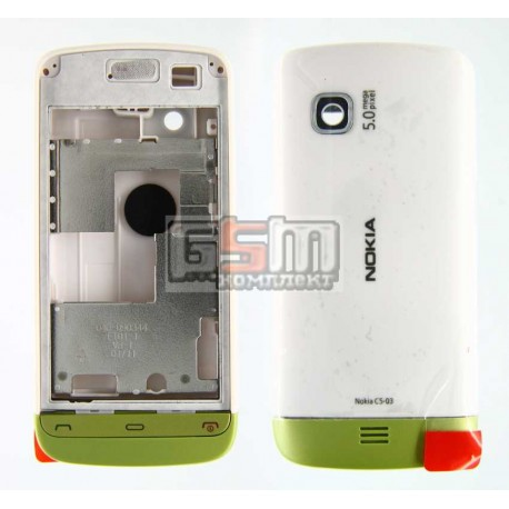 Корпус для Nokia C5-03, C5-06, белый, копия ААА, с зеленой накладкой