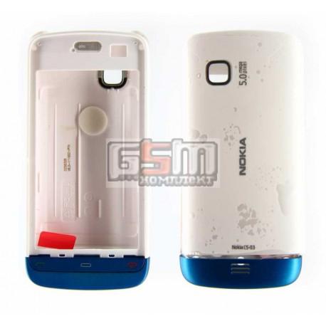 Корпус для Nokia C5-03, C5-06, белый, копия ААА, с синей накладкой
