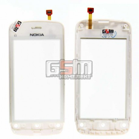 Тачскрин для Nokia C5-03, C5-06, с передней панелью, белый, копия