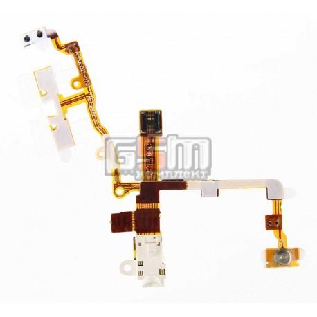 Шлейф для Apple iPhone 3G, iPhone 3GS, белый, кнопок звука, кнопки включения, коннектора наушников