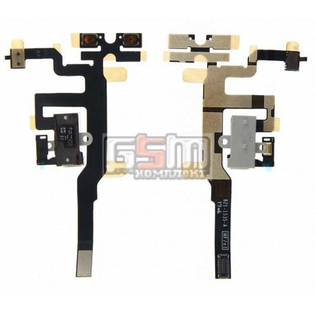 Шлейф для Apple iPhone 4S, белый, кнопок звука, коннектора наушников, с компонентами