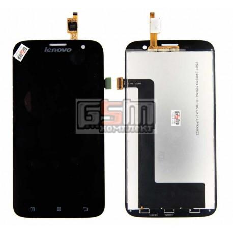 Дисплей для Lenovo A859, черный, с сенсорным экраном (дисплейный модуль)