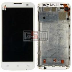 Дисплей для Prestigio MultiPhone 5503 Duo, MultiPhone 5517 Duo, белый, оригинал, с сенсорным экраном, с передней панелью