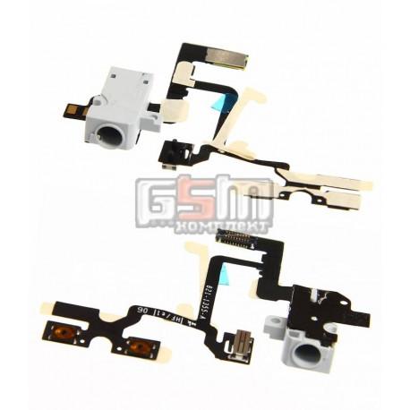 Шлейф для Apple iPhone 4, белый, кнопок звука, коннектора наушников, с компонентами