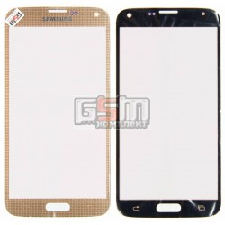 Стекло корпуса для Samsung G900F Galaxy S5, G900H Galaxy S5, G900T Galaxy S5, золотистое
