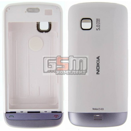 Корпус для Nokia C5-03, C5-06, білий, копія ААА, з фіолетовою накладкою