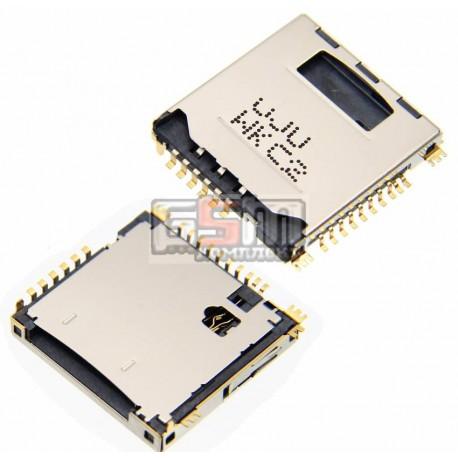 Коннектор SIM-карты для Samsung C3010, P900, S5230 Star, S5230W, original, коннектор карты памяти, #3709-001593