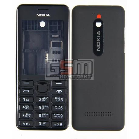 Корпус для Nokia 206 Asha, черный, копия ААА, с клавиатурой