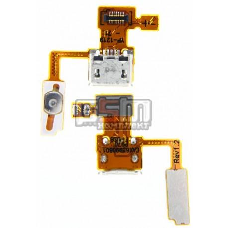 Шлейф для LG P970 Optimus Black, конектора зарядки, кнопки ввімкнення, з компонентами