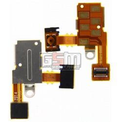 Шлейф для Sony ST27i Xperia Go, кнопки включения, коннектора наушников, с компонентами