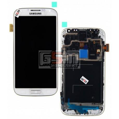 Дисплей для Samsung I9500 Galaxy S4, белый, с сенсорным экраном (дисплейный модуль), с передней панелью
