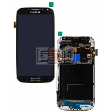 Дисплей для Samsung I9500 Galaxy S4, черный, с сенсорным экраном (дисплейный модуль), с передней панелью