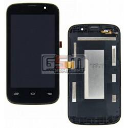 Дисплей для Prestigio MultiPhone 3400 Duo, черный, с сенсорным экраном (дисплейный модуль), с передней панелью